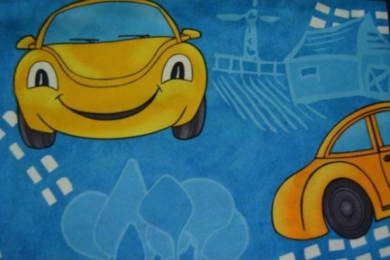 Látka auta modrá
